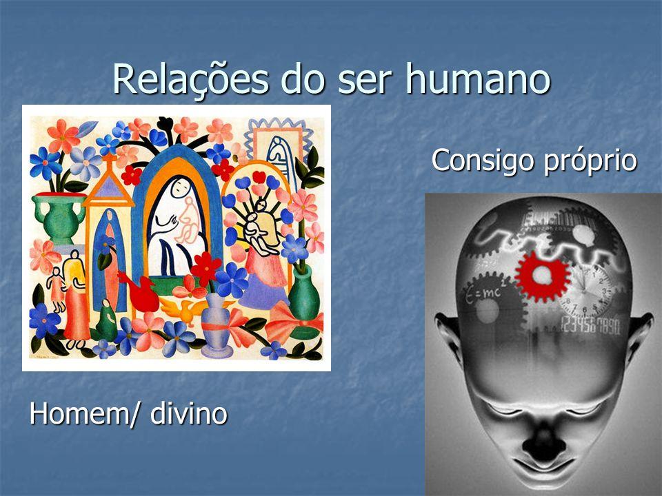 Relações do ser humano Homem/ divino Consigo próprio