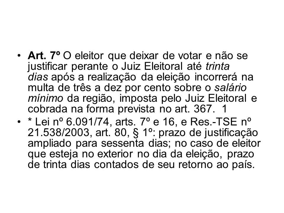 Art. 7º O eleitor que deixar de votar e não se justificar perante o Juiz Eleitoral até trinta dias após a realização da eleição incorrerá na multa de