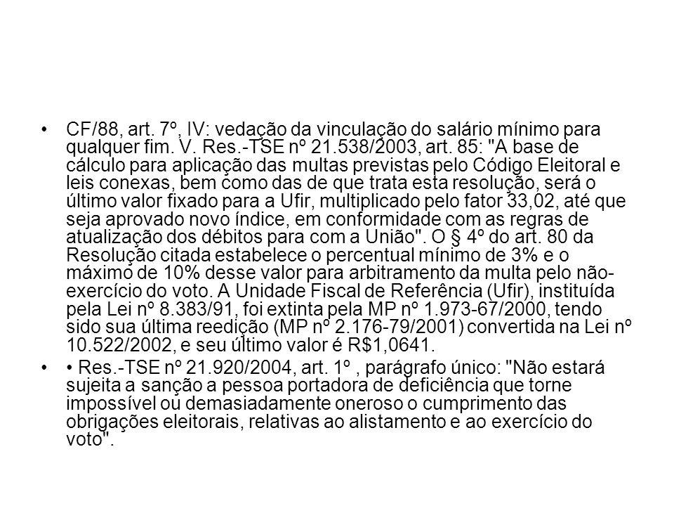 CF/88, art. 7º, IV: vedação da vinculação do salário mínimo para qualquer fim. V. Res.-TSE nº 21.538/2003, art. 85:
