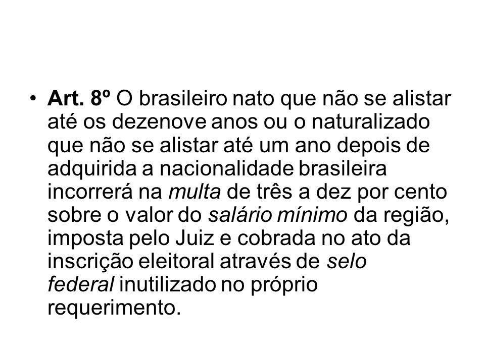 Art. 8º O brasileiro nato que não se alistar até os dezenove anos ou o naturalizado que não se alistar até um ano depois de adquirida a nacionalidade