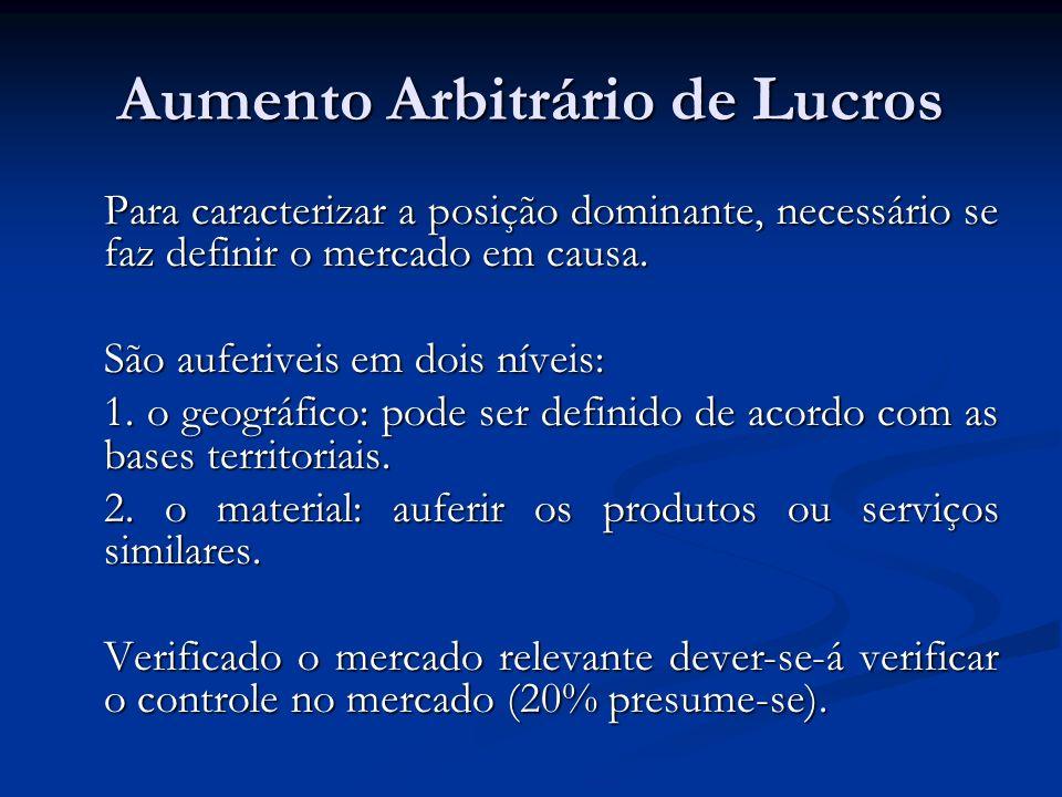 Aumento Arbitrário de Lucros Para caracterizar a posição dominante, necessário se faz definir o mercado em causa.