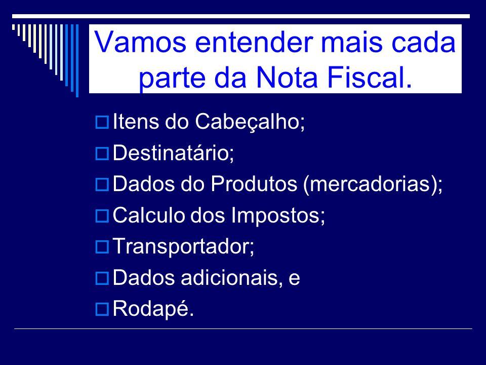 Vamos entender mais cada parte da Nota Fiscal.