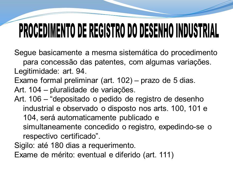Segue basicamente a mesma sistemática do procedimento para concessão das patentes, com algumas variações. Legitimidade: art. 94. Exame formal prelimin