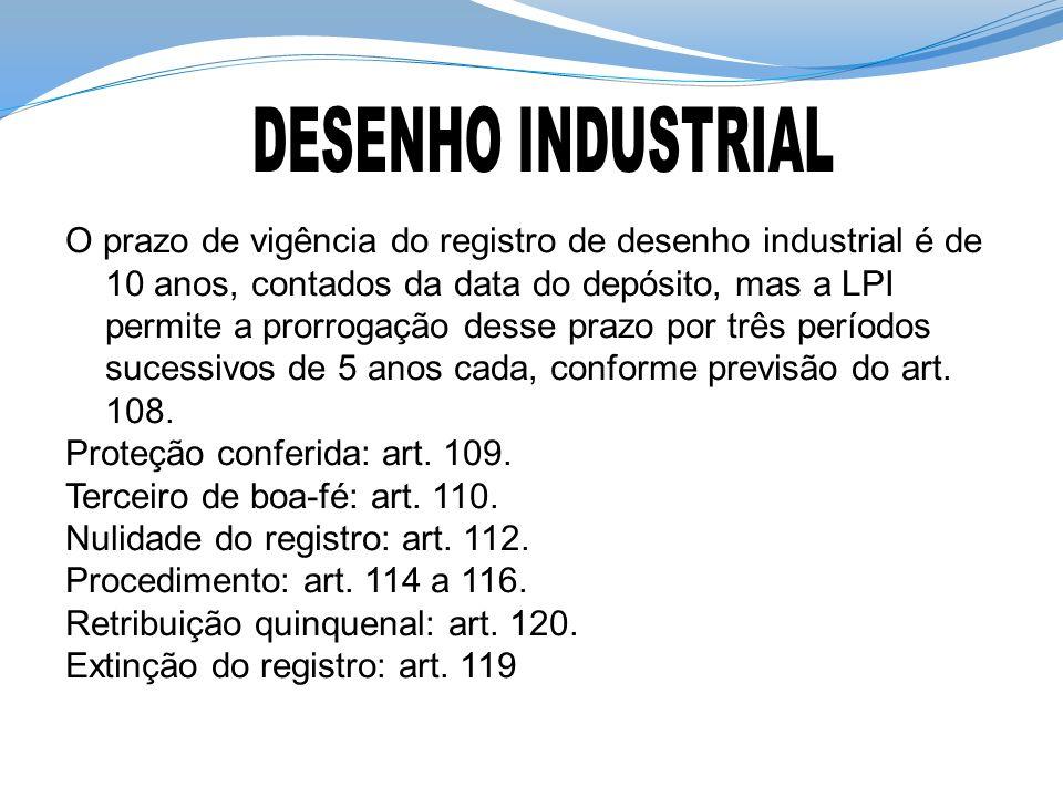 O prazo de vigência do registro de desenho industrial é de 10 anos, contados da data do depósito, mas a LPI permite a prorrogação desse prazo por três