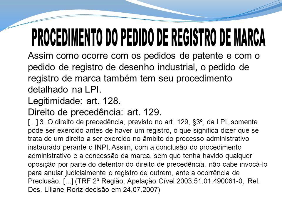 Assim como ocorre com os pedidos de patente e com o pedido de registro de desenho industrial, o pedido de registro de marca também tem seu procediment
