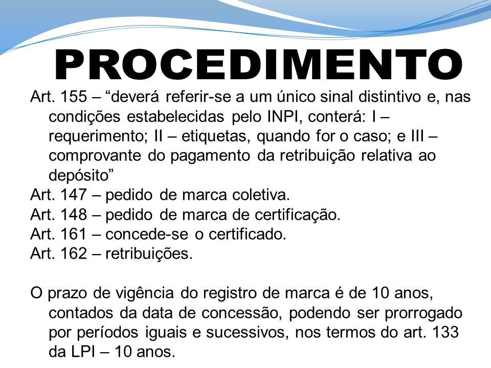 Art. 155 – deverá referir-se a um único sinal distintivo e, nas condições estabelecidas pelo INPI, conterá: I – requerimento; II – etiquetas, quando f