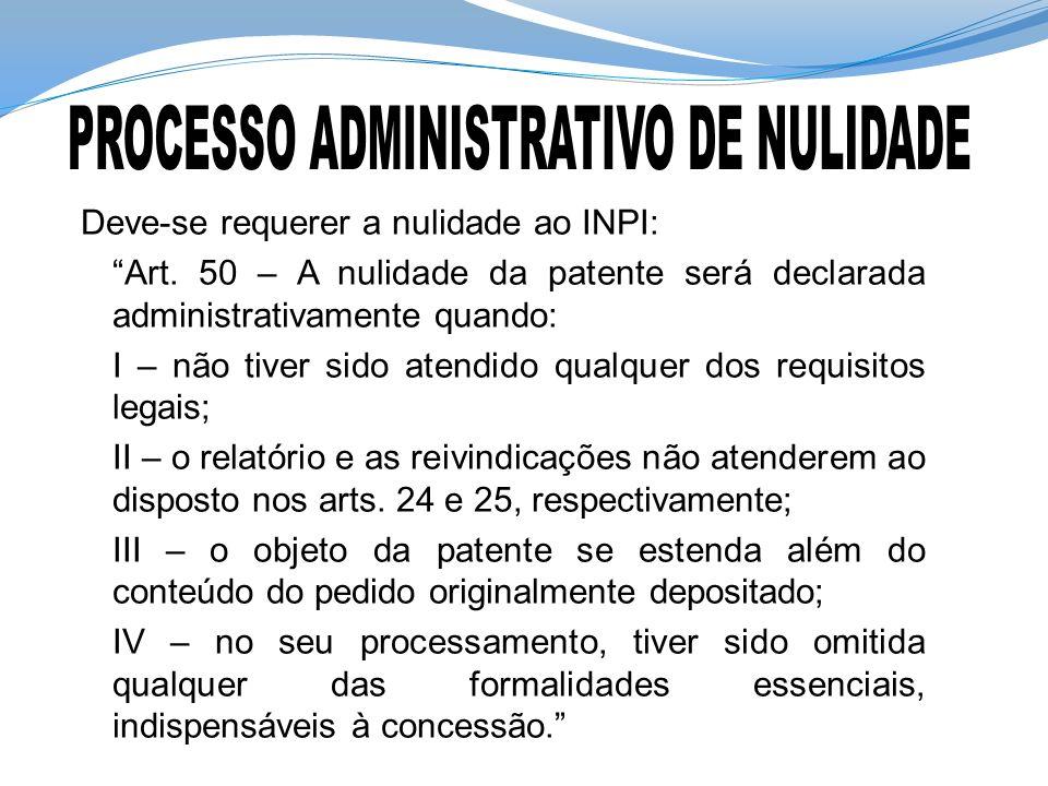 Deve-se requerer a nulidade ao INPI: Art. 50 – A nulidade da patente será declarada administrativamente quando: I – não tiver sido atendido qualquer d