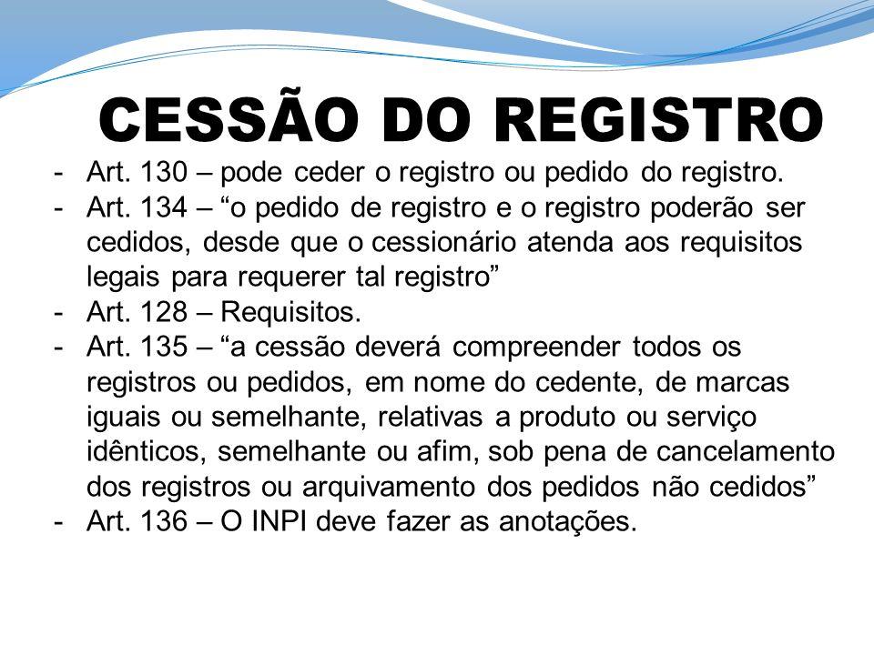 -Art. 130 – pode ceder o registro ou pedido do registro. -Art. 134 – o pedido de registro e o registro poderão ser cedidos, desde que o cessionário at