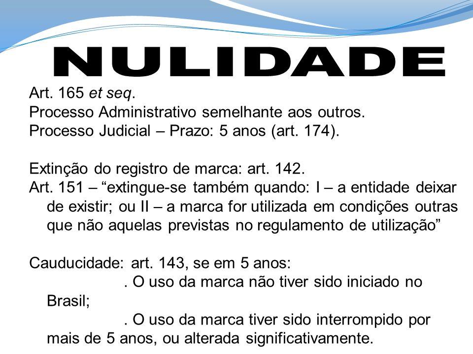 Art. 165 et seq. Processo Administrativo semelhante aos outros. Processo Judicial – Prazo: 5 anos (art. 174). Extinção do registro de marca: art. 142.