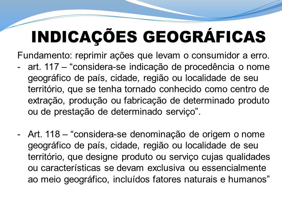 Fundamento: reprimir ações que levam o consumidor a erro. -art. 117 – considera-se indicação de procedência o nome geográfico de país, cidade, região