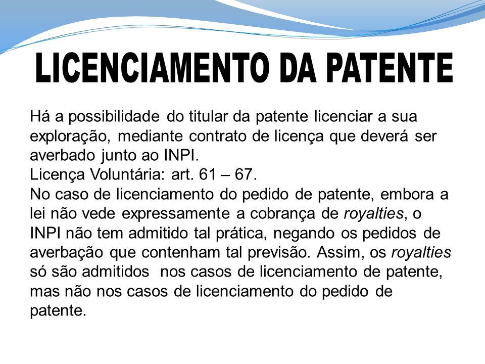 Há a possibilidade do titular da patente licenciar a sua exploração, mediante contrato de licença que deverá ser averbado junto ao INPI. Licença Volun