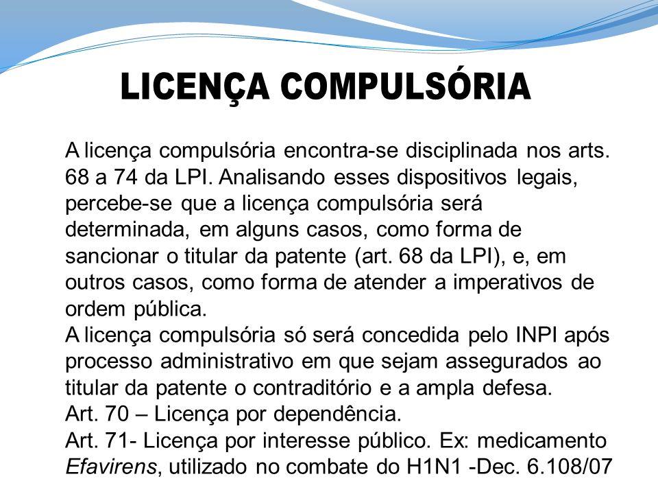 A licença compulsória encontra-se disciplinada nos arts. 68 a 74 da LPI. Analisando esses dispositivos legais, percebe-se que a licença compulsória se