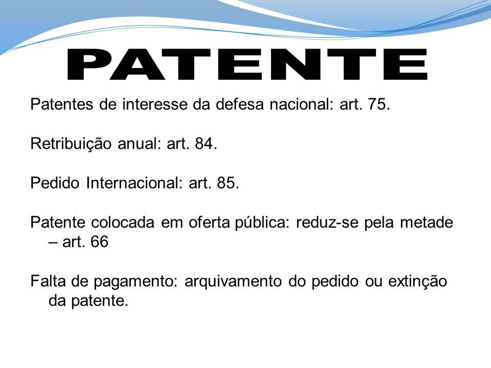 Patentes de interesse da defesa nacional: art. 75. Retribuição anual: art. 84. Pedido Internacional: art. 85. Patente colocada em oferta pública: redu