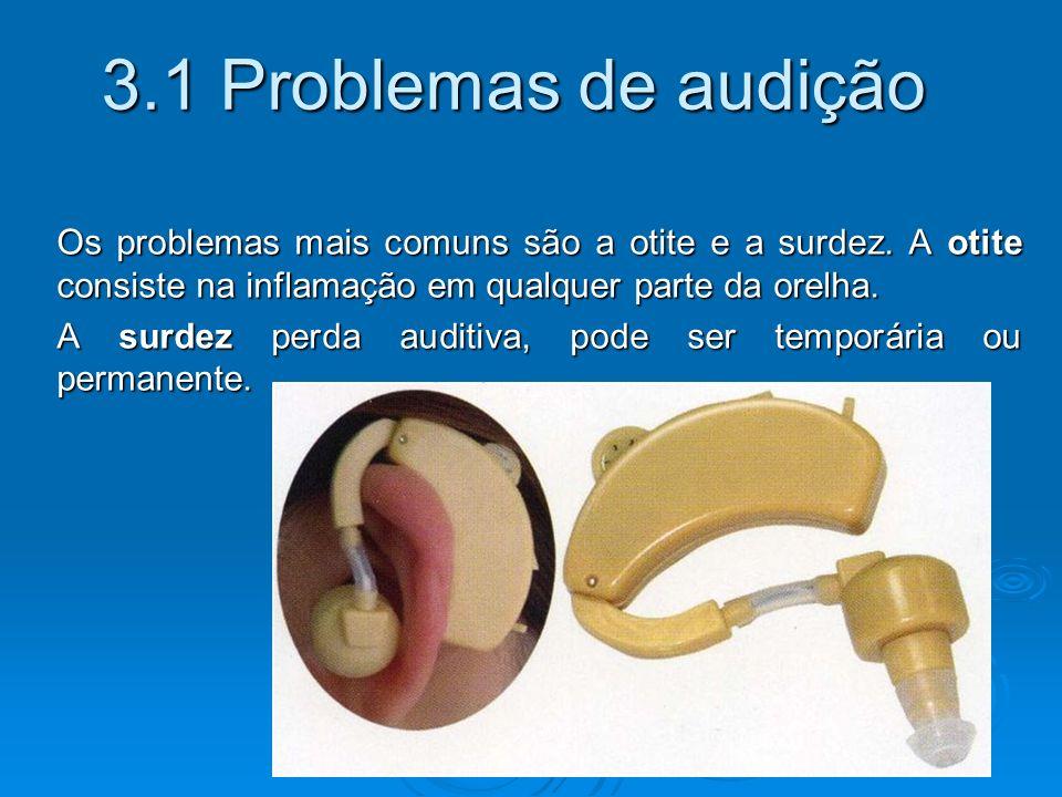 3.1 Problemas de audição Os problemas mais comuns são a otite e a surdez.