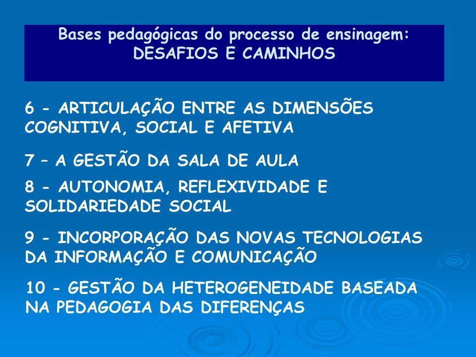 6 - ARTICULAÇÃO ENTRE AS DIMENSÕES COGNITIVA, SOCIAL E AFETIVA 7 – A GESTÃO DA SALA DE AULA 8 - AUTONOMIA, REFLEXIVIDADE E SOLIDARIEDADE SOCIAL 9 - IN