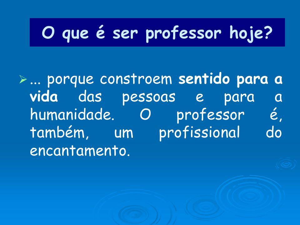 O que é ser professor hoje?... porque constroem sentido para a vida das pessoas e para a humanidade. O professor é, também, um profissional do encanta