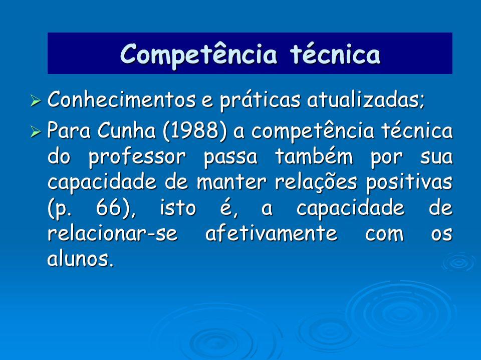 Competência técnica Conhecimentos e práticas atualizadas; Conhecimentos e práticas atualizadas; Para Cunha (1988) a competência técnica do professor p
