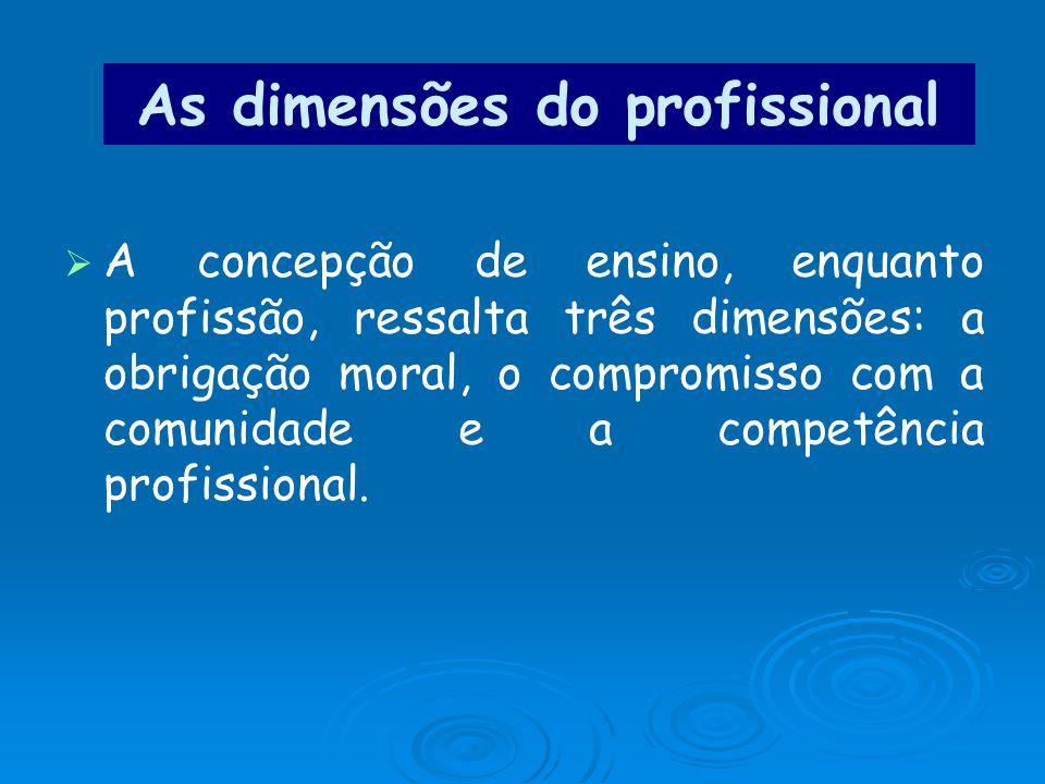 As dimensões do profissional A concepção de ensino, enquanto profissão, ressalta três dimensões: a obrigação moral, o compromisso com a comunidade e a