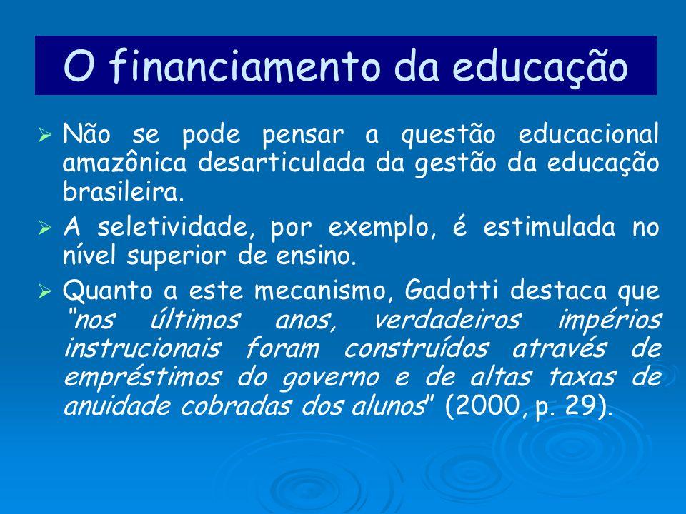 O financiamento da educação Não se pode pensar a questão educacional amazônica desarticulada da gestão da educação brasileira. A seletividade, por exe