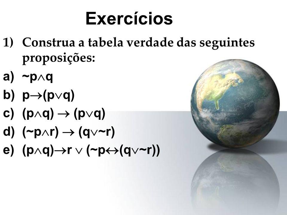 1)Construa a tabela verdade das seguintes proposições: a)~p q b)p (p q) c)(p q) (p q) d)(~p r) (q ~r) e)(p q) r (~p (q ~r)) Exercícios