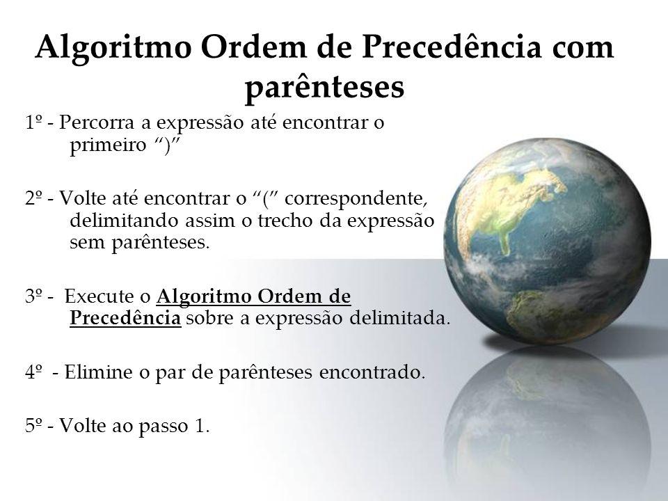 Algoritmo Ordem de Precedência com parênteses 1º - Percorra a expressão até encontrar o primeiro ) 2º - Volte até encontrar o ( correspondente, delimi