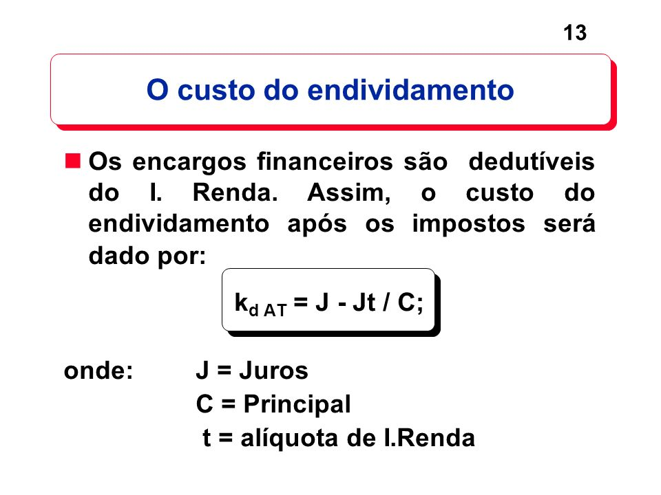 13 Os encargos financeiros são dedutíveis do I. Renda. Assim, o custo do endividamento após os impostos será dado por: k d AT = J - Jt / C; onde:J = J