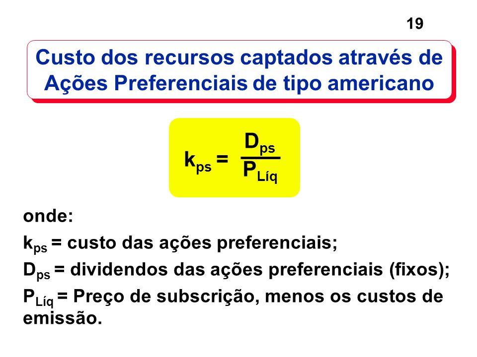 19 D ps P Líq k ps = Custo dos recursos captados através de Ações Preferenciais de tipo americano onde: k ps = custo das ações preferenciais; D ps = d