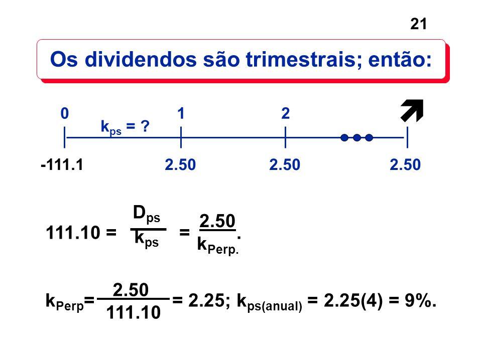 21 Os dividendos são trimestrais; então: 2.50 012 k ps = ? -111.1 111.10 = =. k Perp = = 2.25; k ps(anual) = 2.25(4) = 9%. 2.50 k Perp. 2.50 111.10 D