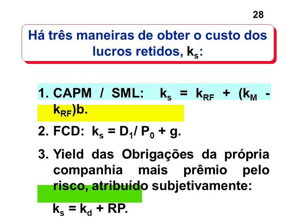 28 Há três maneiras de obter o custo dos lucros retidos, k s : 1.CAPM / SML: k s = k RF + (k M - k RF )b. 2.FCD: k s = D 1 / P 0 + g. 3.Yield das Obri