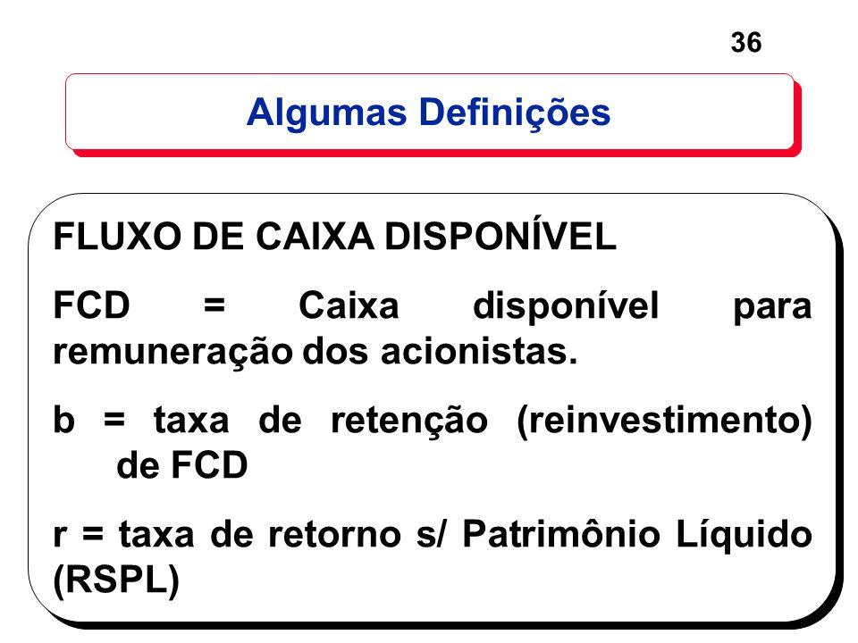 36 Algumas Definições FLUXO DE CAIXA DISPONÍVEL FCD = Caixa disponível para remuneração dos acionistas. b = taxa de retenção (reinvestimento) de FCD r