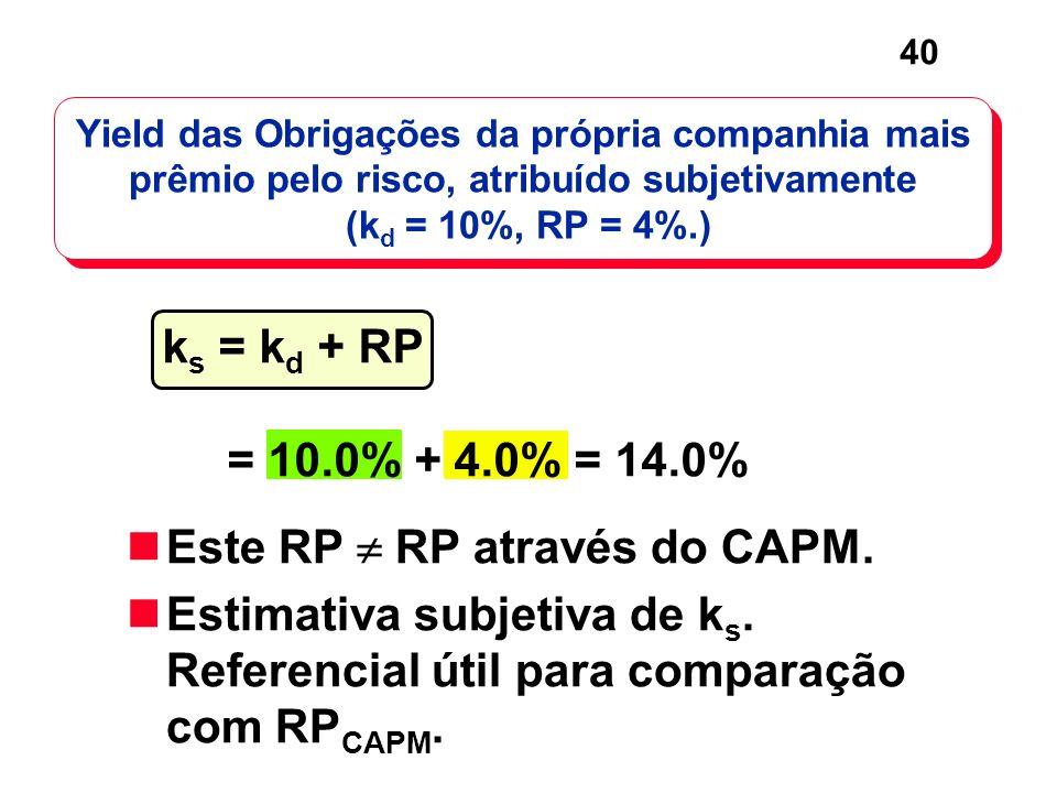 40 Yield das Obrigações da própria companhia mais prêmio pelo risco, atribuído subjetivamente (k d = 10%, RP = 4%.) Este RP RP através do CAPM. Estima