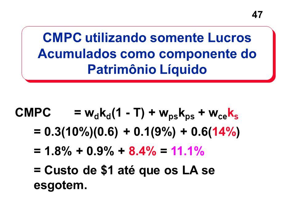 47 CMPC utilizando somente Lucros Acumulados como componente do Patrimônio Líquido CMPC= w d k d (1 - T) + w ps k ps + w ce k s = 0.3(10%)(0.6) + 0.1(