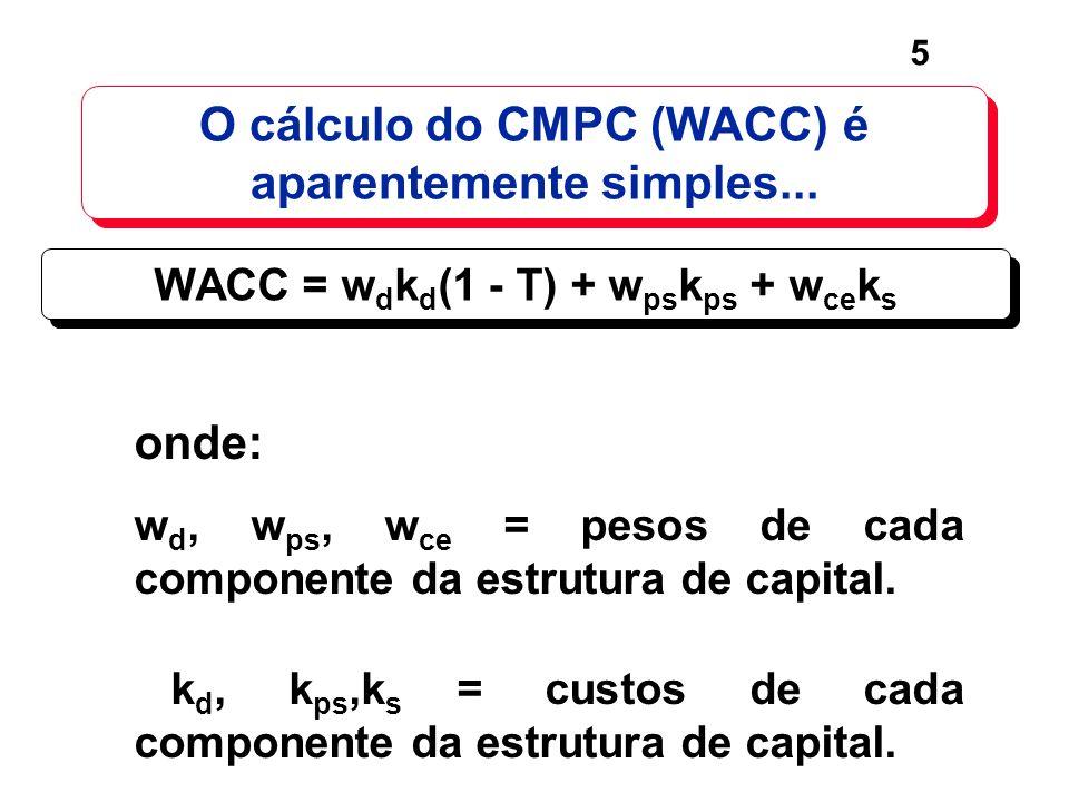 5 O cálculo do CMPC (WACC) é aparentemente simples... WACC = w d k d (1 - T) + w ps k ps + w ce k s onde: w d, w ps, w ce = pesos de cada componente d