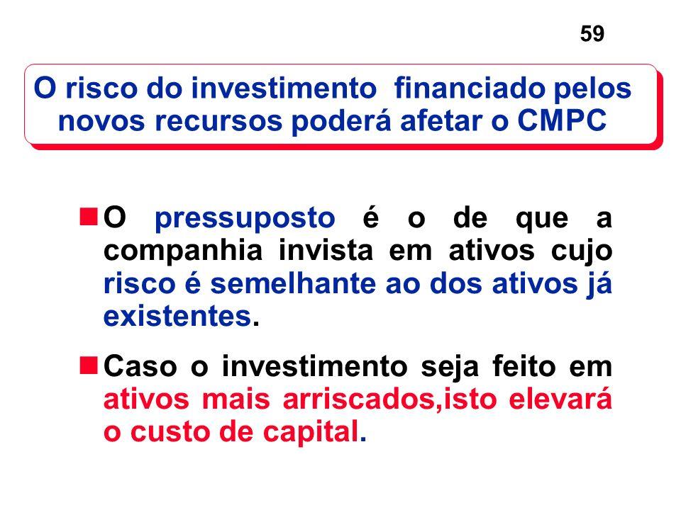 59 O pressuposto é o de que a companhia invista em ativos cujo risco é semelhante ao dos ativos já existentes. Caso o investimento seja feito em ativo