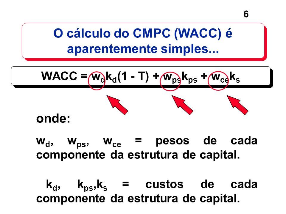 6 O cálculo do CMPC (WACC) é aparentemente simples... WACC = w d k d (1 - T) + w ps k ps + w ce k s onde: w d, w ps, w ce = pesos de cada componente d