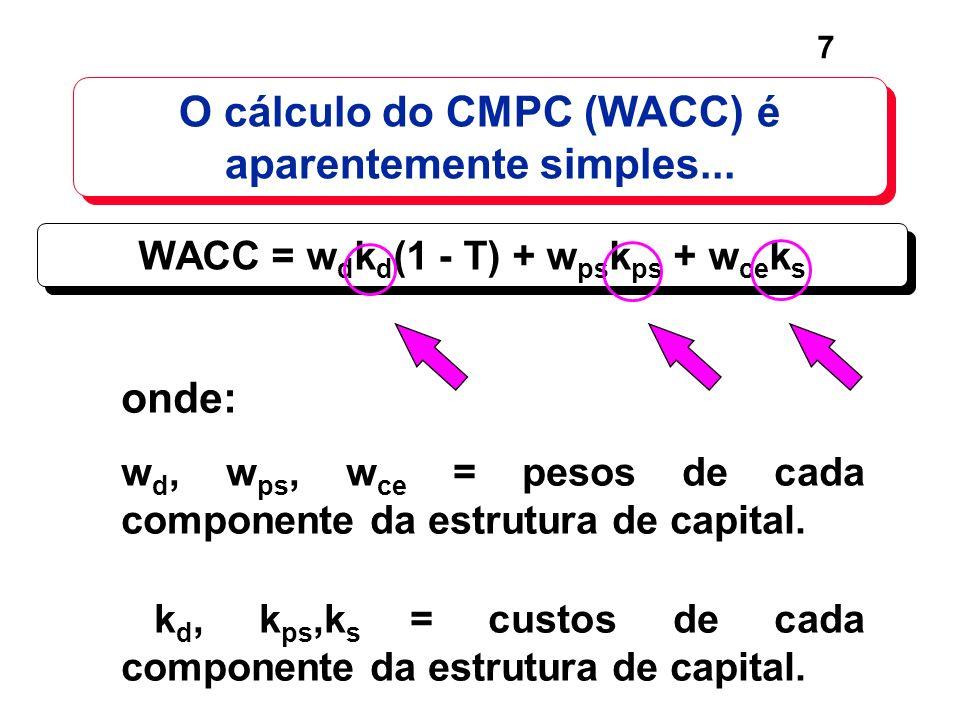 7 O cálculo do CMPC (WACC) é aparentemente simples... onde: w d, w ps, w ce = pesos de cada componente da estrutura de capital. k d, k ps,k s = custos
