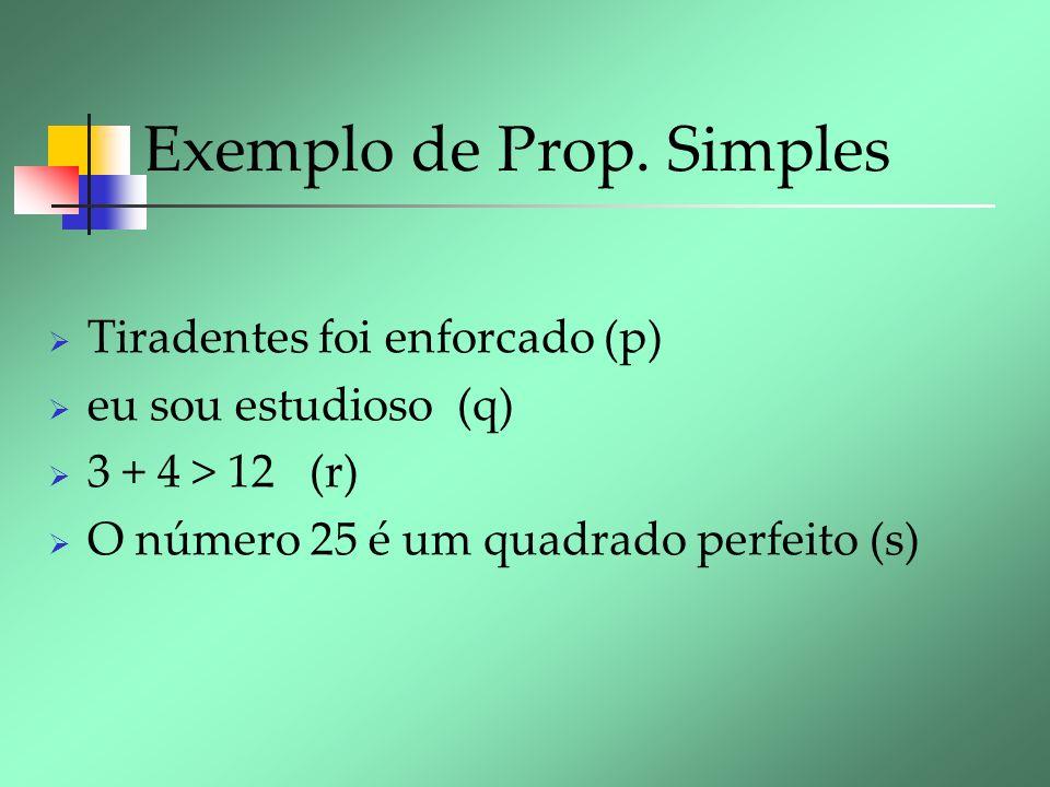 Exemplo de Prop. Simples Tiradentes foi enforcado (p) eu sou estudioso (q) 3 + 4 > 12 (r) O número 25 é um quadrado perfeito (s)