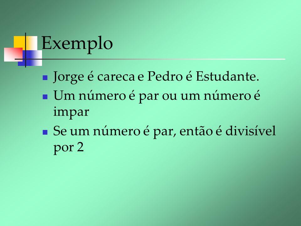 Exemplo Jorge é careca e Pedro é Estudante. Um número é par ou um número é impar Se um número é par, então é divisível por 2