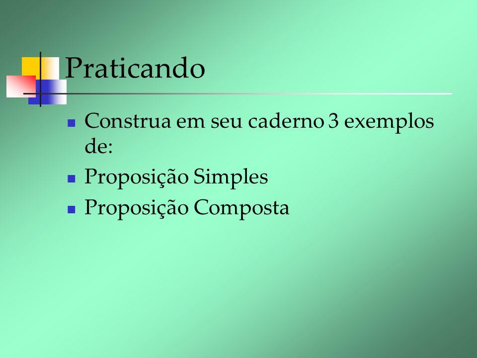 Praticando Construa em seu caderno 3 exemplos de: Proposição Simples Proposição Composta