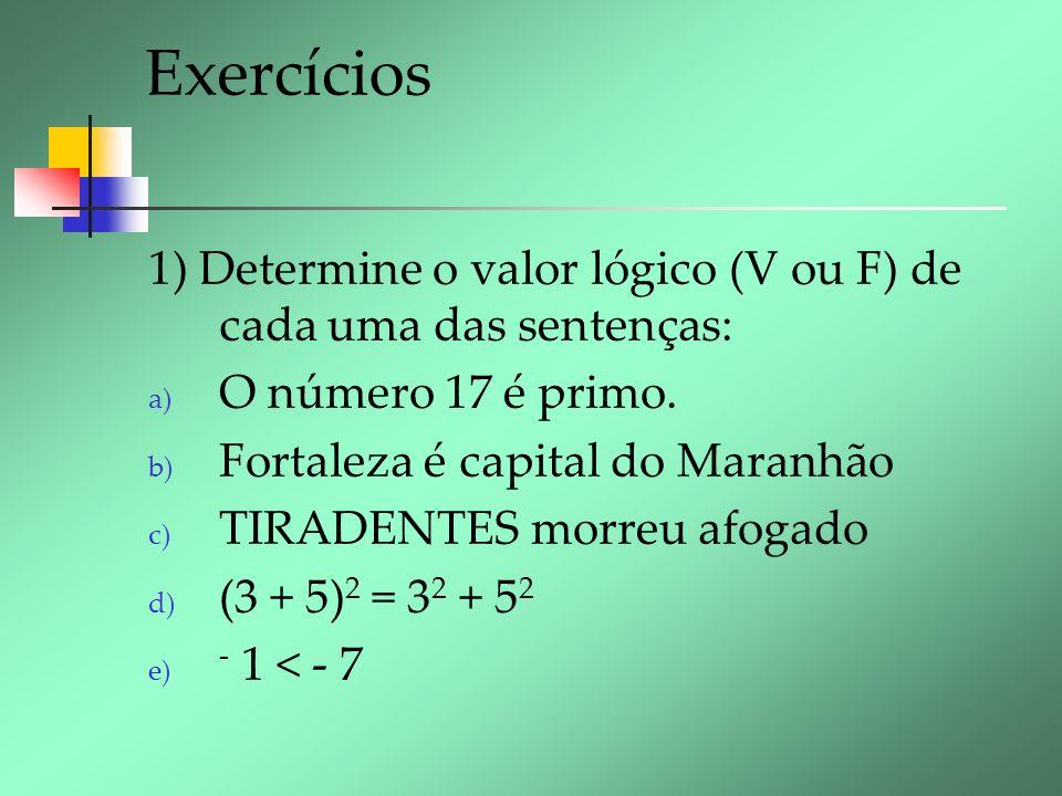 Exercícios 1) Determine o valor lógico (V ou F) de cada uma das sentenças: a) O número 17 é primo. b) Fortaleza é capital do Maranhão c) TIRADENTES mo