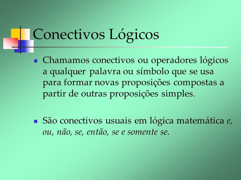 Conectivos Lógicos Chamamos conectivos ou operadores lógicos a qualquer palavra ou símbolo que se usa para formar novas proposições compostas a partir