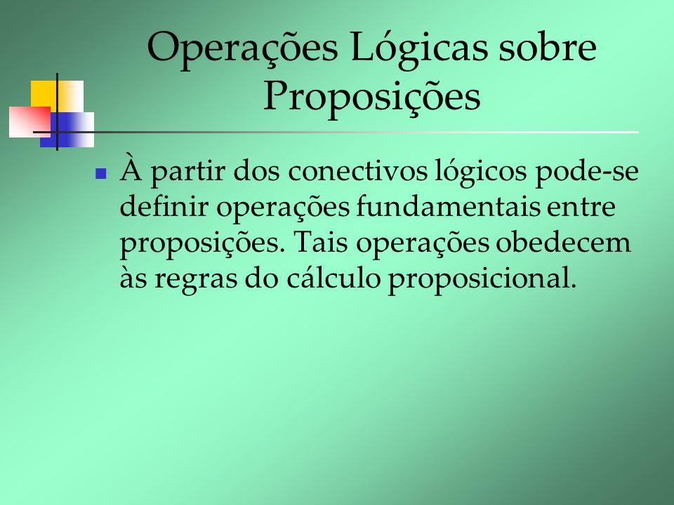 Operações Lógicas sobre Proposições À partir dos conectivos lógicos pode-se definir operações fundamentais entre proposições. Tais operações obedecem