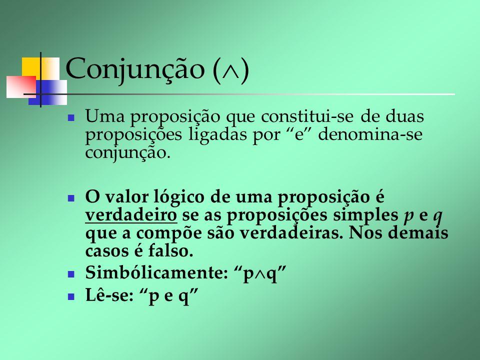 Conjunção ( ) Uma proposição que constitui-se de duas proposições ligadas por e denomina-se conjunção. O valor lógico de uma proposição é verdadeiro s