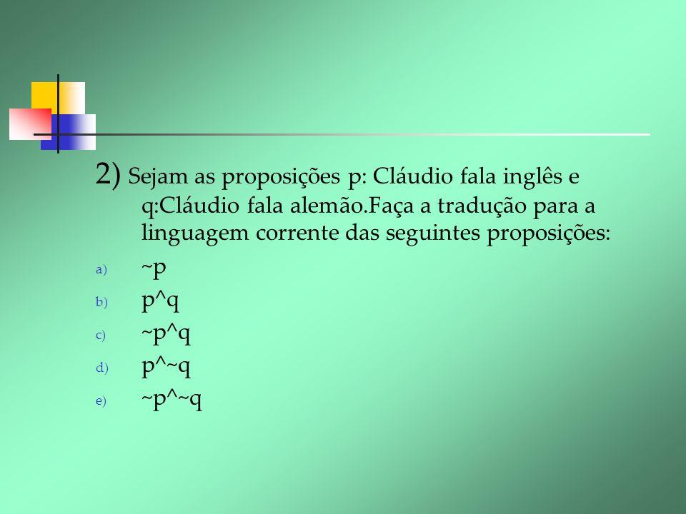 2) Sejam as proposições p: Cláudio fala inglês e q:Cláudio fala alemão.Faça a tradução para a linguagem corrente das seguintes proposições: a) ~p b) p