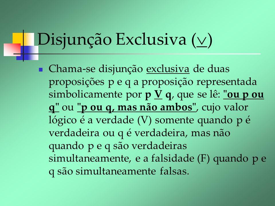 Disjunção Exclusiva ( ) Chama-se disjunção exclusiva de duas proposições p e q a proposição representada simbolicamente por p V q, que se lê: