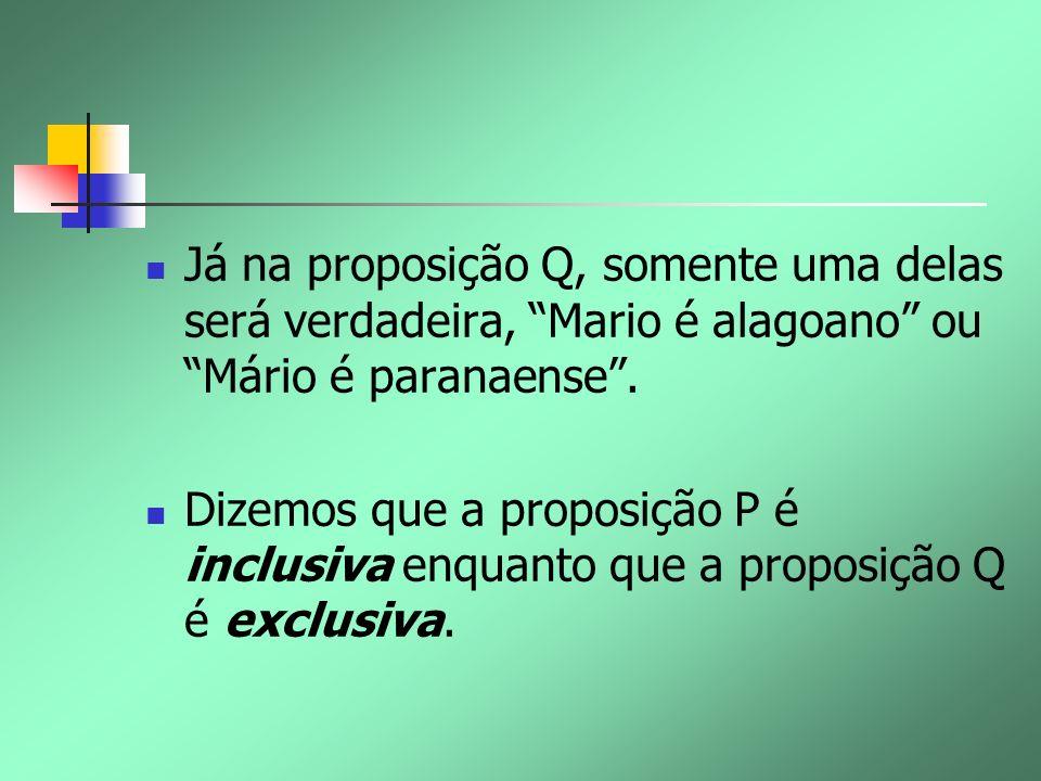 Já na proposição Q, somente uma delas será verdadeira, Mario é alagoano ou Mário é paranaense. Dizemos que a proposição P é inclusiva enquanto que a p