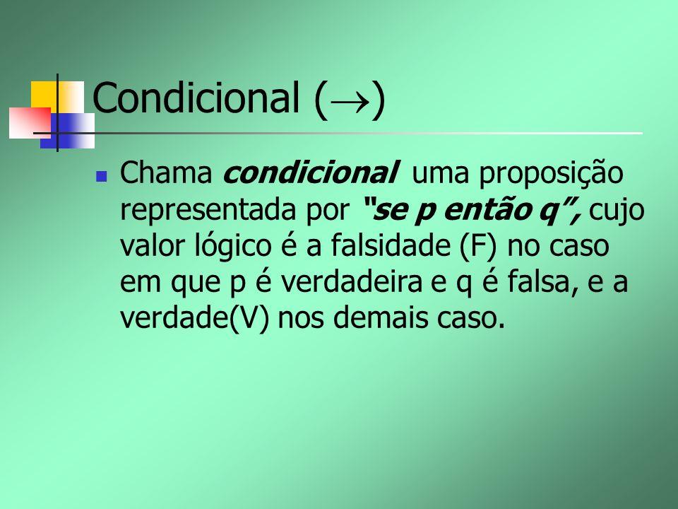 Condicional ( ) Chama condicional uma proposição representada por se p então q, cujo valor lógico é a falsidade (F) no caso em que p é verdadeira e q