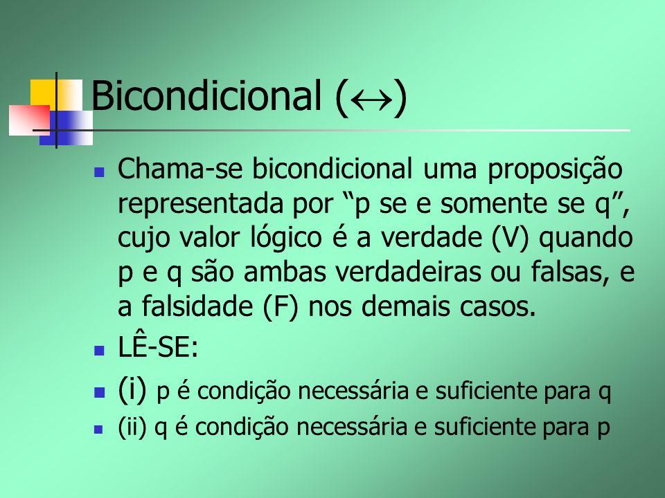 Bicondicional ( ) Chama-se bicondicional uma proposição representada por p se e somente se q, cujo valor lógico é a verdade (V) quando p e q são ambas