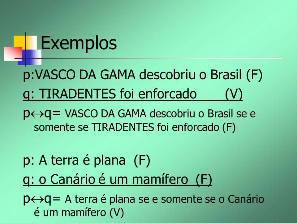 Exemplos p:VASCO DA GAMA descobriu o Brasil (F) q: TIRADENTES foi enforcado (V) p q= VASCO DA GAMA descobriu o Brasil se e somente se TIRADENTES foi e