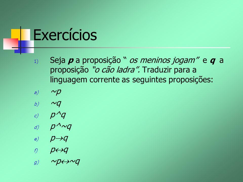 Exercícios 1) Seja p a proposição os meninos jogam e q a proposição o cão ladra. Traduzir para a linguagem corrente as seguintes proposições: a) ~p b)